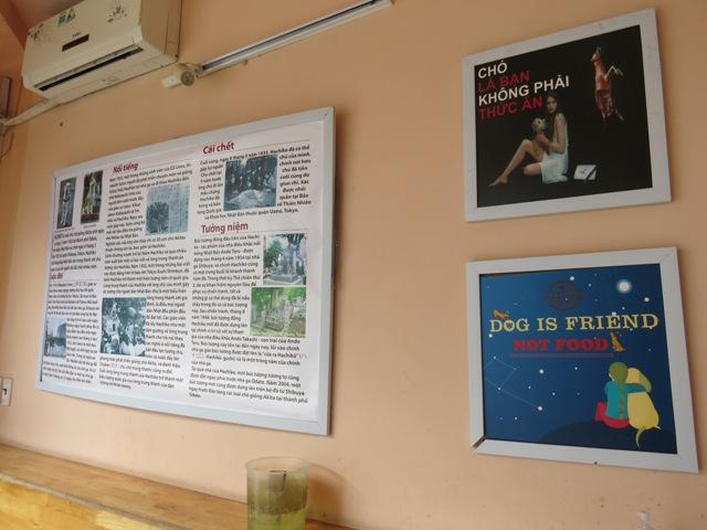 犬肉色の習慣もあるベトナム。店内には、「犬は友達。食糧じゃない」という言葉が書かれたプレートも。