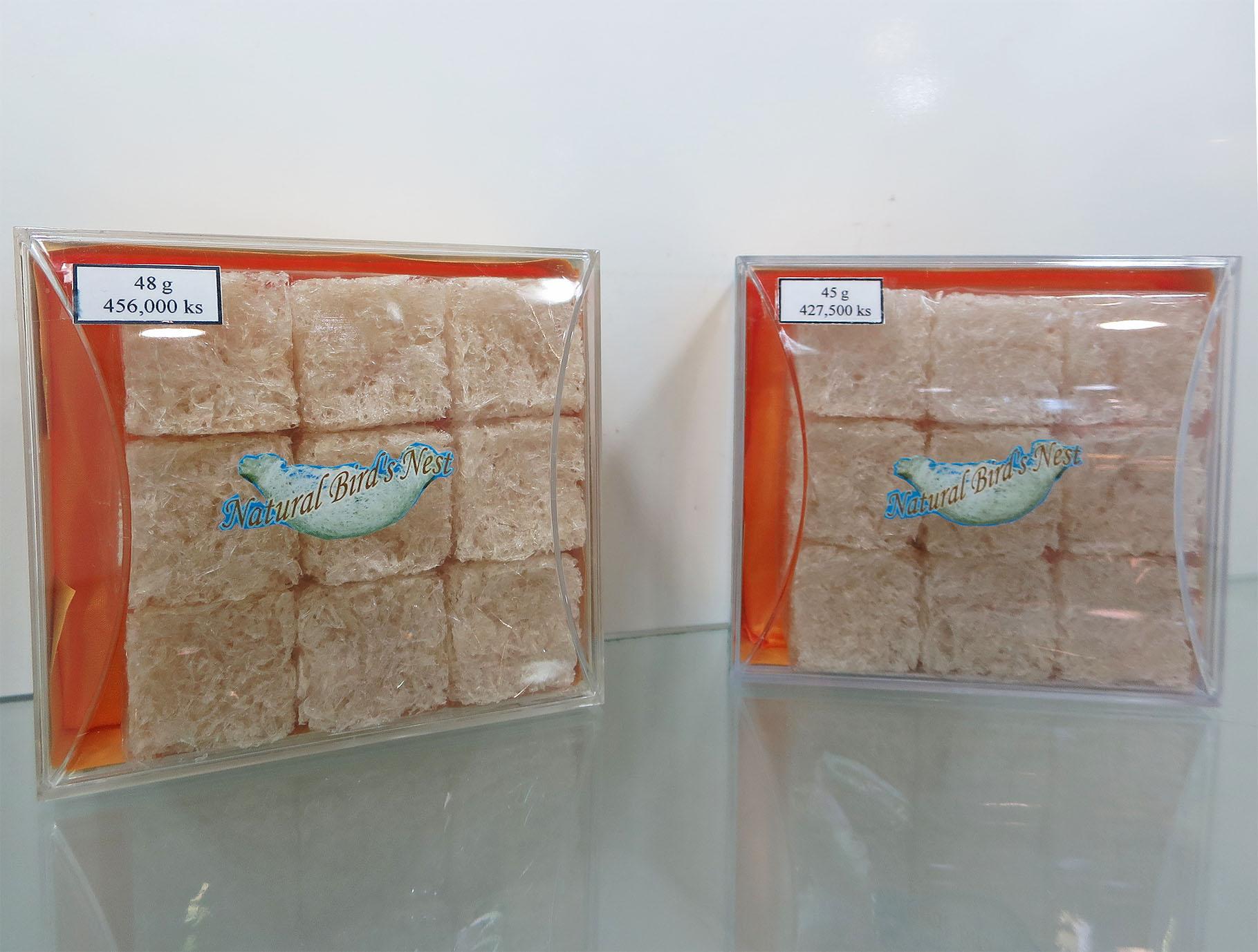 ヤンゴンのショッピングセンターで売られている燕の巣。42万7500チャット(約3万5000円)/45g