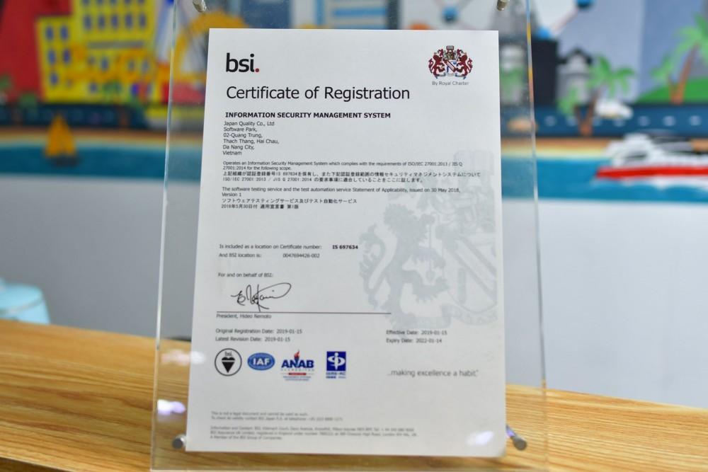 情報セキュリティマネジメントシステム(ISMS)の国際規格認証を受けている。